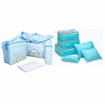 J&J 4-in-1 MUMMY Multi-Functional Baby Diaper Nappy Bag-Lightblue with 6 in 1 Waterproof Travel Organizer Toiletries PouchBags -Lightblue
