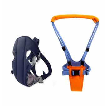 J&J Adjustable Sling Wrap Rider Infant Baby Carrier (Blue) withMoonwalk Baby Walking Assistant