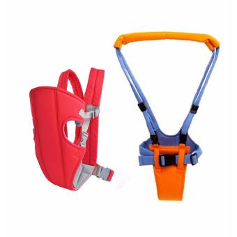 J&J Adjustable Sling Wrap Rider Infant Baby Carrier (Red) withMoonwalk Baby Walking Assistant