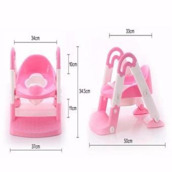 J&J Baby Potty Training Toilet Chair Seat Step Ladder Trainer Toddler - Pink - 4