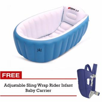 J&J Fast Inflatable Baby Bath Tub (Blue) with FREEAdjustable Infant Baby Carrier Newborn Kid Sling Wrap RiderBackpack Baby Sling (Blue)