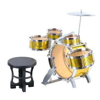 Jazz Drum Set with Chair Musical Toy Instrument for Kids (Yellow)