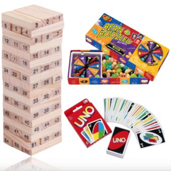 Jenga Classic Wooden Block Stacking Game 54 pieces & Uno Cards&Jelly Belly Bean Boozled Spinner and Refill Boxes