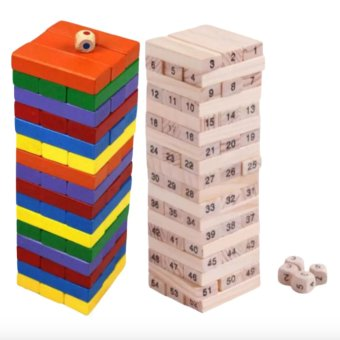 Jenga Classic Wooden Block Stacking Game 54 pieces Numbers And Colors 2