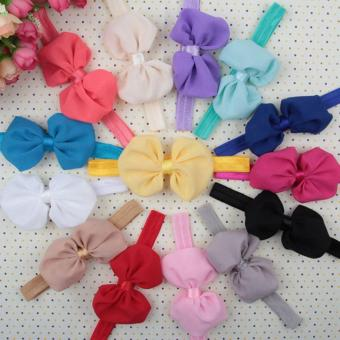 Jiayiqi Cute Baby Girl Headband Infant Bow Chiffon Flower Hair Accessories For Kid Beige - intl