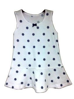 Kid Basix Dress with Navy Wheel Print (White)