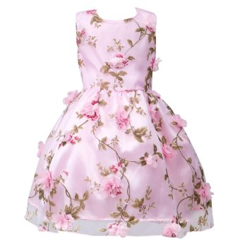 Kid Girls Floral Party Wedding Princess Pageant Summer Dresses -intl