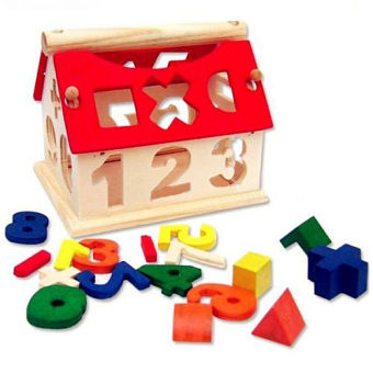 Kid Wooden Digital Number House Building Blocks EducationalIntellectual Toy