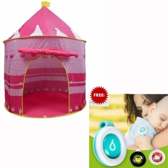 Kiddie Folding Kids Play Tent - Castle Cubby House PINK with 3Pieces Mosquito Clip On Mosquito Repellant (Assorted Design)