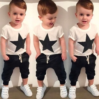 Kids Baby Boys Star T-shirt Tops Harem Pants Trousers Outfits Set Clothes
