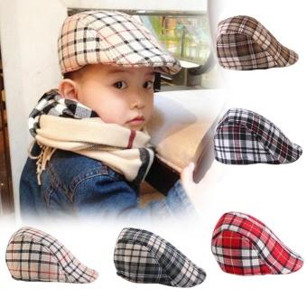 Kids Baby Cotton Plaid Design Berets Newsboy Caps British StyleBoys Girls Sun HatBeige
