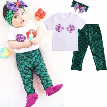 Kids Baby Girl Clothes Shell Tops T-shirt+Mermaid Pants LeggingsOutfits Set - intl