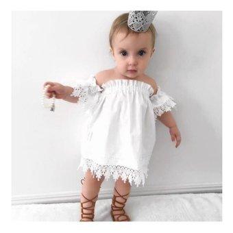 Kids Baby Girls Clothes Lace Dress Off-shoulder Party DressSundress - intl - 2