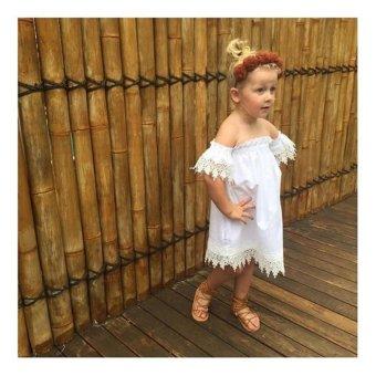 Kids Baby Girls Clothes Lace Dress Off-shoulder Party DressSundress - intl - 3