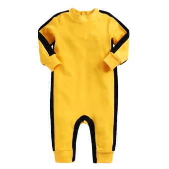 Kids Bruce Lee Pure Cotton Jumpsuit Longsleeve Baby Bodysuit - intl