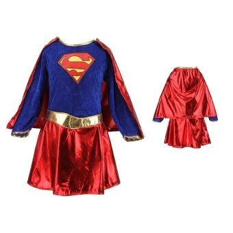 Kids Child Girls Costume Fancy Dress Superhero Supergirl Comic Book Party Outfit - Intl