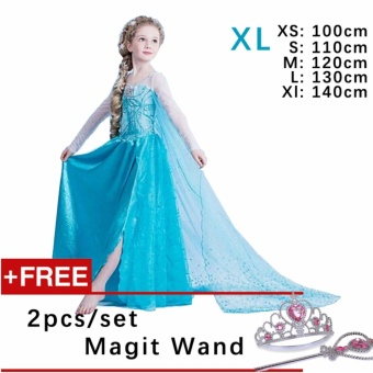 Kids Cosplay Castillo Elsa Dress Custom Made Movie Princess girls Frozen Costumes ( XL : 140 cm Height )
