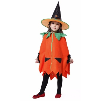 Kids Costume Halloween Costume Pumpkin Witch Costume Birthday Children Cosplay Party Photography Outfit Jack O Lantern Costume 4-5Yrs