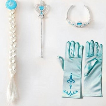 Kids Girl Princess 4Pcs/set Elsa Anna Cosplay Frozen Gloves DressCostume - intl Price Philippines