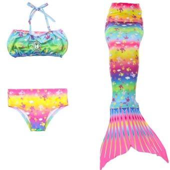 Kids Girls Swimsuit Bikini Set with Mermaids Tail Sea-maid SwimmingCostumes (110) - intl - 3