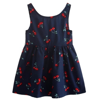 Kids Sleeveless Dress Baby Toddler Casual Birthday Dress CherryPleated Cotton Blue Dress Photography Outfit Summer Dress