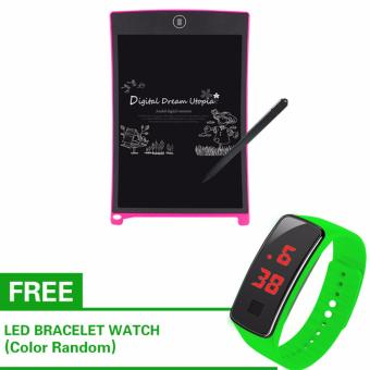 Kingdo 8.5 LCD Writing Tablet Board Office Writing Board(Pink) withStylus Pen with Free LED Watch