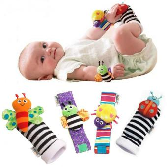 Lamaze 4 Pcs New Baby Infant Foot Socks Rattles Wrist Rattles Multicolor