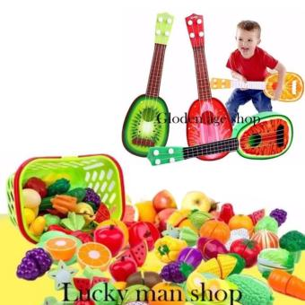 lazada and USA best selling 9 in 1 Musical Guitar Toys 4 StringAcoustic Guitar Toy for Kids Mini Fruit Guitars(Multicolor) andPlastic Cutting Fruits and Vegetables Set with Dish Play Food Setfor Pretend Play