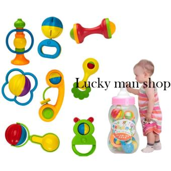 lazada and USA best selling Big bottle Baby Toy Rattle InfantTeether Puzzle Educational(8 Pieces)