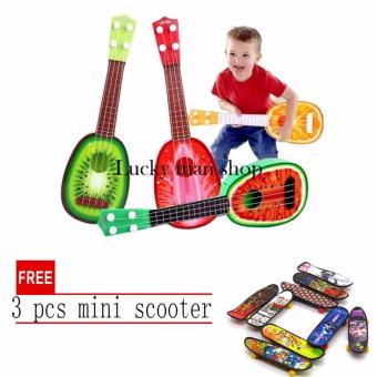 lazada and USA best selling Musical Guitar Toys 4 String AcousticGuitar Toy for Kids Mini Fruit Guitars with free 3 pcs mini scooter