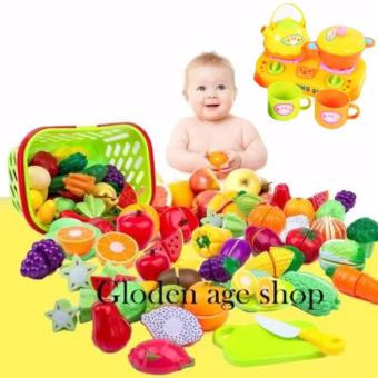 lazada and USA best selling With basket 28 Pcs/set Plastic Fruit Vegetable Kitchen Cutting Toy Early Development and Education Toys for Baby Kids Children