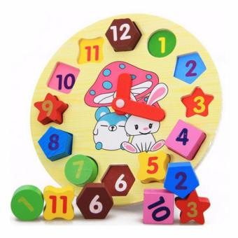 lazada and USA best selling Wooden Rabbit Clock with GeometricShapes Puzzle