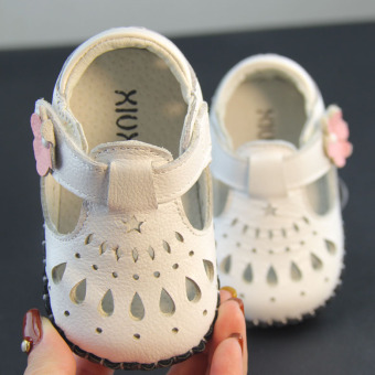Leather baby soft bottom toddler shoes porous shoes
