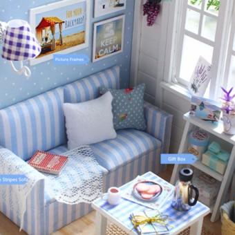 LED Light DIY Miniature Dollhouse Blue Sofa - 4