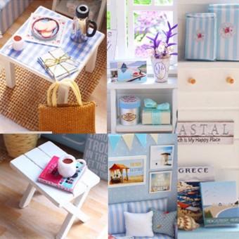 LED Light DIY Miniature Dollhouse Blue Sofa - 5