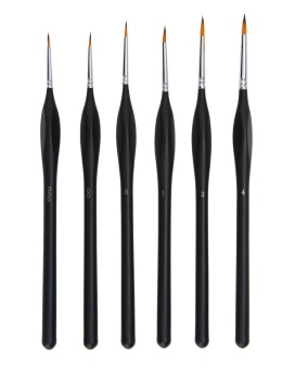leegoal Paint Brushes Set Artist Triangular Wooden Handle PaintBrushes For Art Watercolor Acrylics Oil,6 Pics(Black) - intl