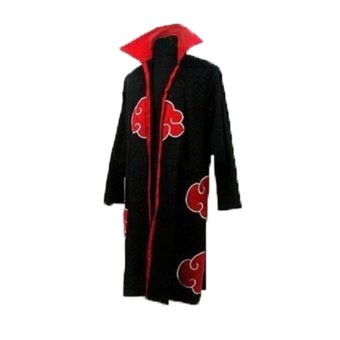 Lemon Itachi Uchiha Cape Cloak Uniform Anime Cosplay Costume(BlackRed,L) - intl