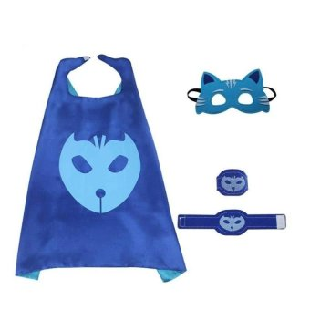 Lemon Pj Masks 4Pcs/Set Pj Masks Cloak Cape And Mask Owlette CatboyGeckocosplay Action Toys For Children (Blue) - intl
