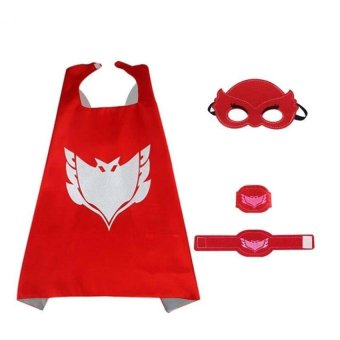Lemon Pj Masks 4Pcs/Set Pj Masks Cloak Cape And Mask Owlette CatboyGeckocosplay Action Toys For Children (Red) - intl