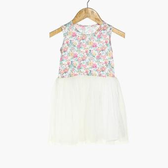 Little Miss Girls Floral Fit and Flare Dress (White) Price Philippines