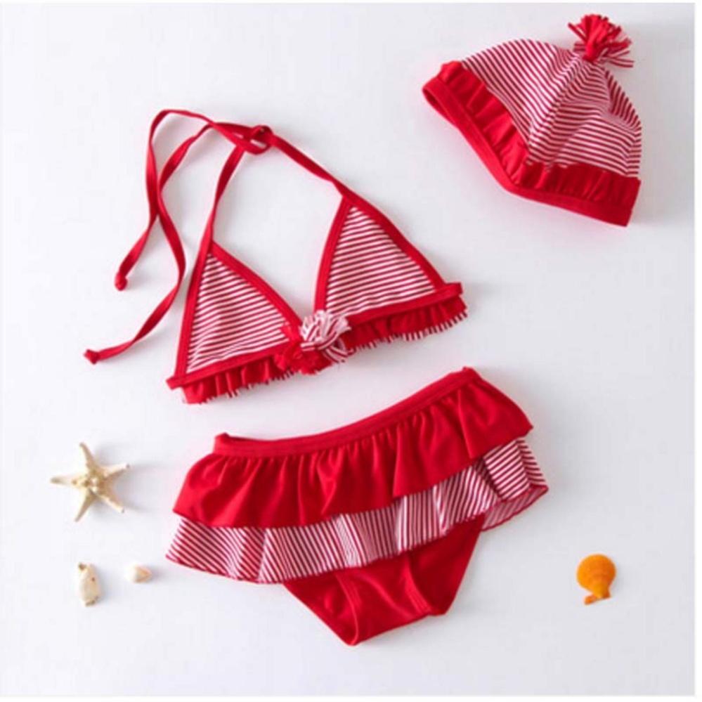 Lovely Girl Kids 3Pcs Strawberry swimming Swimmable SwimwearChildren Bikini Set Bathing Suit Swimsuit Beach Wear Baby