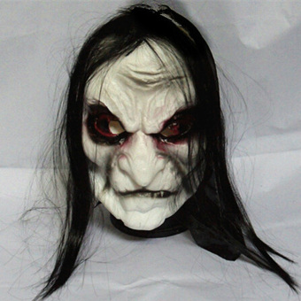 LT365 Halloween Prank Prop Long Black Hair Devil Full Head Mask