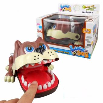 Lucky Dog Bulldog Mouth Dentist Bite Finger Game Funny Toy Gift(Brown)