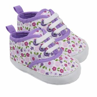 Luvable Friends Canvas Sneaker (Purple with Floral Print) For Baby6 to 12 Months Old