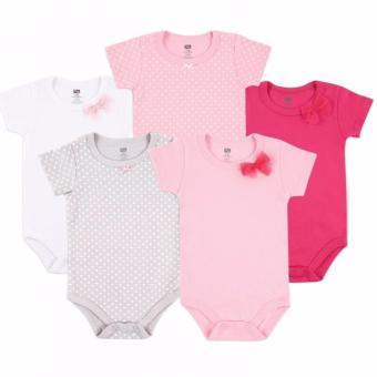 Luvable Friends Girl's 5 Pack Hanging Bodysuit Interlock for 9-12Months