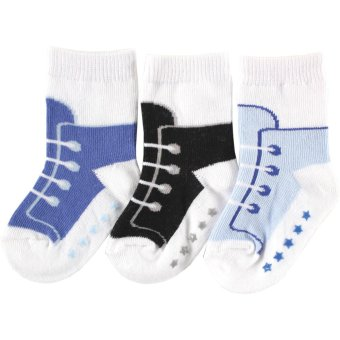 Luvable Friends Newborn Baby Boys Non-Skid Shoes Socks 3-Pack