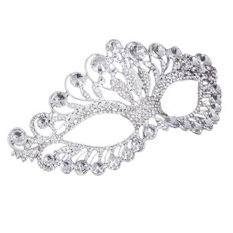Luxury Elegant Diamond Rhinestone Mask Masquerade Party Crown AlloyMask for Women(Silver) - intl