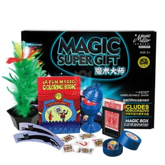 Magic Trick Set Professional Magic Tricks Props with DVD TeachingClose-up Magic Show Suitcase Gift for Kids Color:Blue - intl Price Philippines