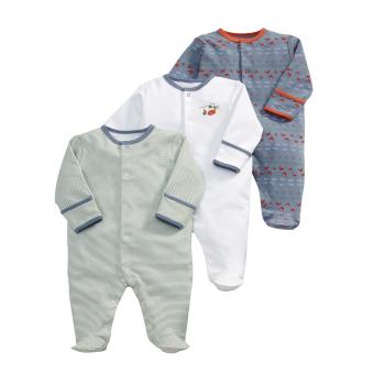 Mamas and Papas Beach Print Bodysuit Set of 3 (Blue/Red/White)
