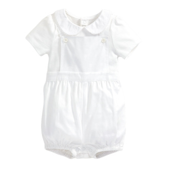 Mamas and Papas Spotted Dungaree and Bodysuit Set (White)